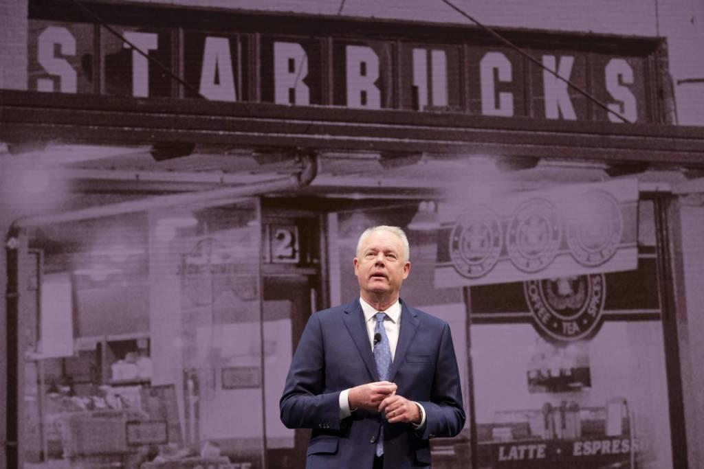 Starbucks CEO Kevin Johnson on April 15, 2018 [Press Photo]
